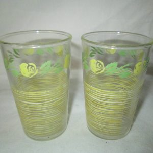 Depression Glass 2  Small Juice Pair Yellow stripe and flowers with green leaves Great condition