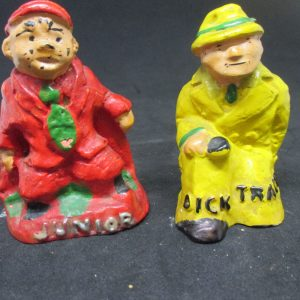 Dick Tracy and Junior Mid Century Chalkware Salt & Pepper Shaker Farmhouse Collectible Cottage Shabby Chic display original stoppers Japan
