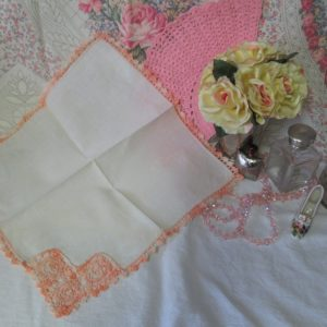 Exquisite Ivory Linen with Crochet Trim hankie handkerchief Stunning Detail Shabby chic cottage display collectible cotton