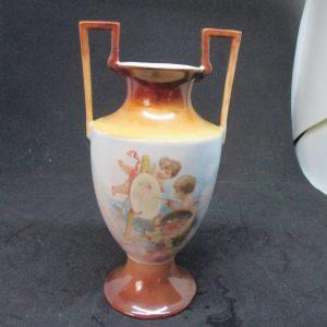 Fantastic Antique Double handle Cherub Vase Austrian hand painted painting cherubs collectible display urn figurine cottage Victorian decor