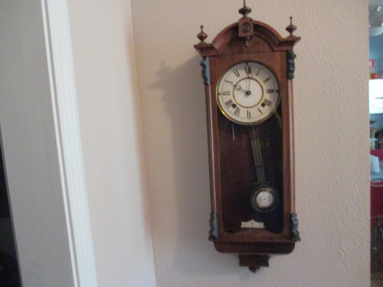 Fantastic Antique German Clock Key Wind Porcelain Face