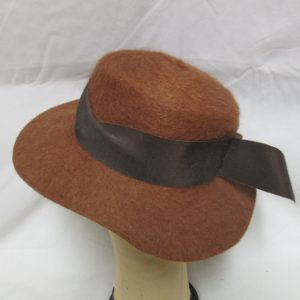 Fantastic Brown/Rust Cashmere Hat Mid Century Japan Brown Gross Grain Ribbon around base