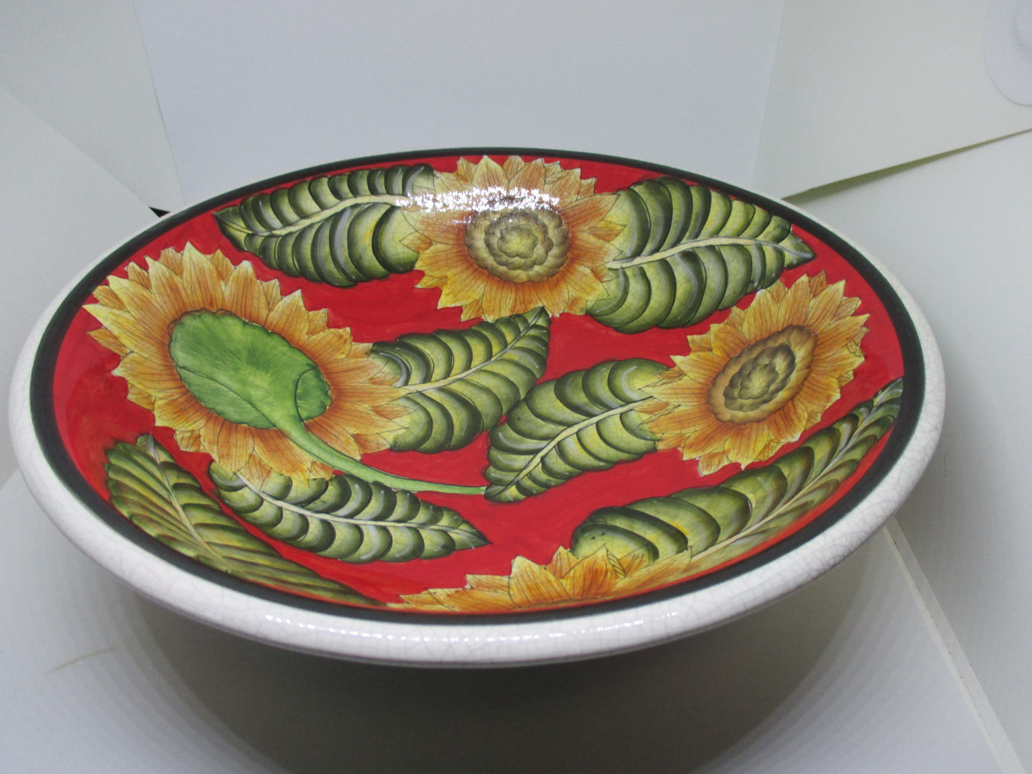 Fantastic Giant Sunflower Bowl Kitchen Home Decor Collectible Display Farmhouse Cottage Summer Fall Pottery