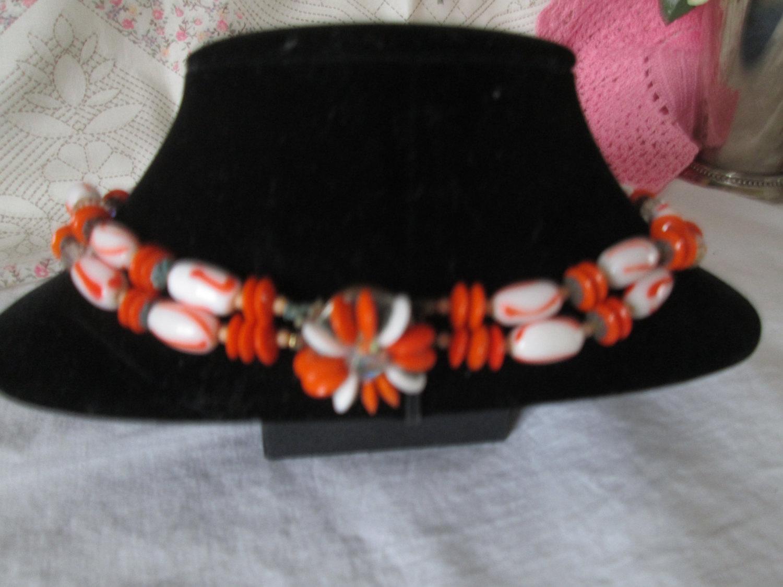 Fantastic Glass Beaded Orange & White Retro 1970's Necklace Double Strand