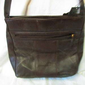 Fantastic Leather Brown Vittoria Purse hand bag with several sections zippers and tag new old stock