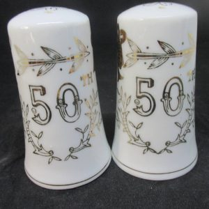 Fantastic Mid Century 50th Anniversary Salt & Pepper Shakers decor collectible display tableware dinning kitchen farmhouse cottage Lefton