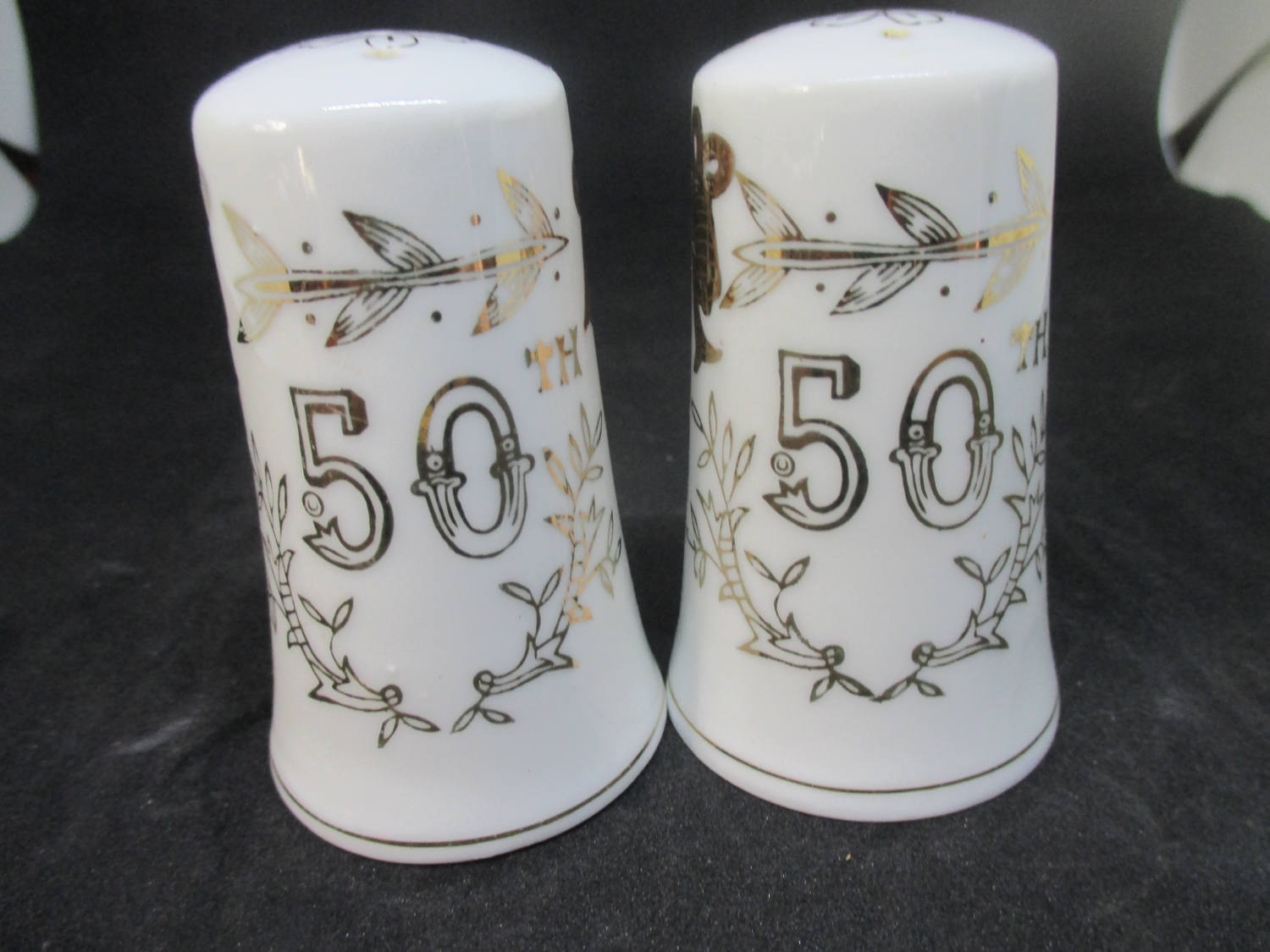 Fantastic Mid Century 50th Anniversary Salt u0026 Pepper Shakers decor collectible display tableware dinning kitchen farmhouse & Fantastic Mid Century 50th Anniversary Salt u0026 Pepper Shakers decor ...