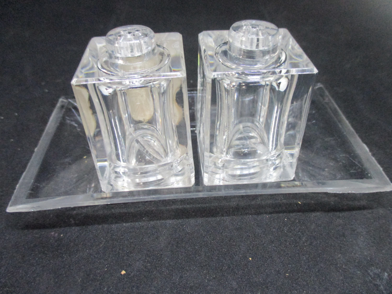 Mid Century Modern Lucite Square Salt