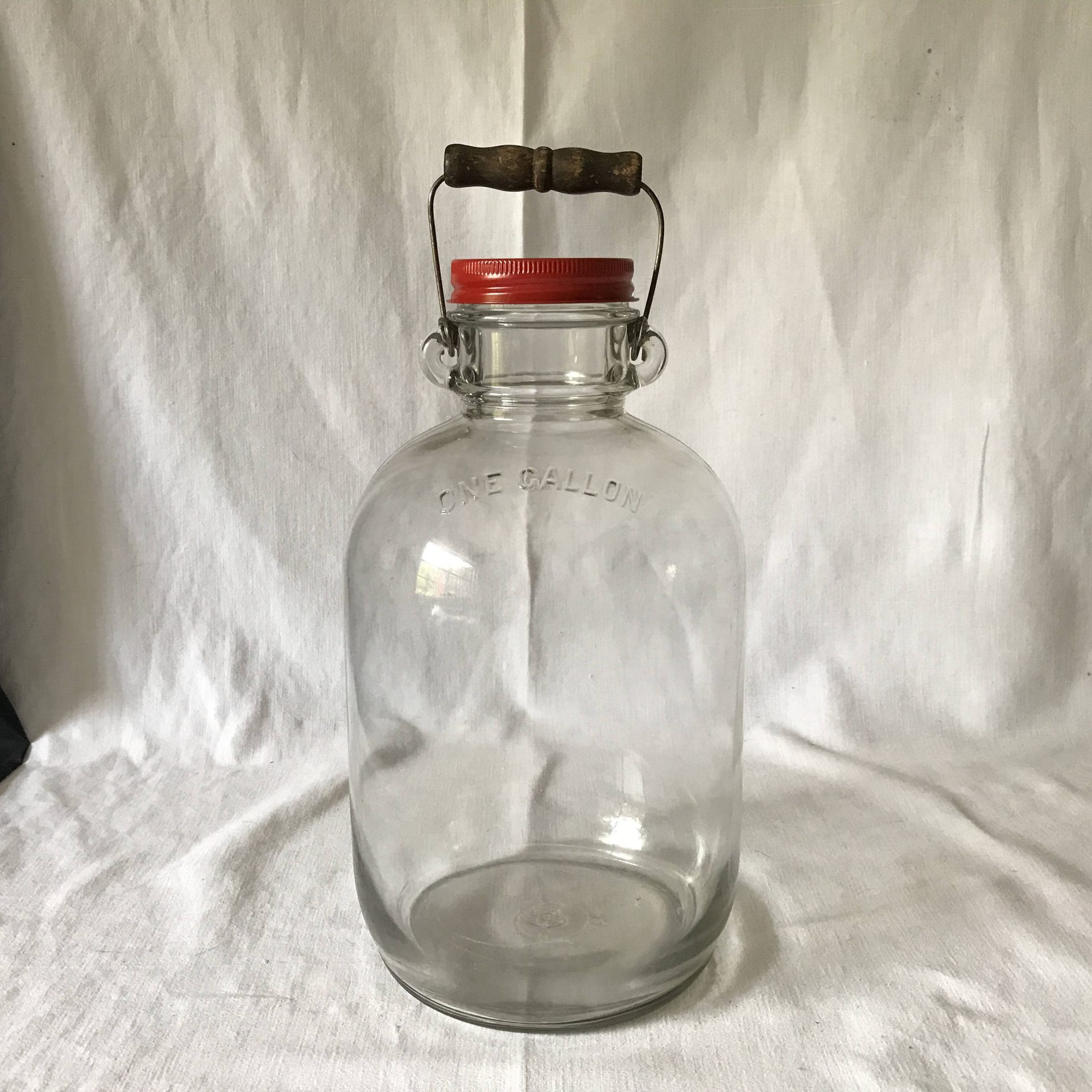 Fantastic Owens Illinois Antique Jug Jar with Bail Wire handle 1 gallon with Metal lid farmhouse kitchen collectible display buttons marbles