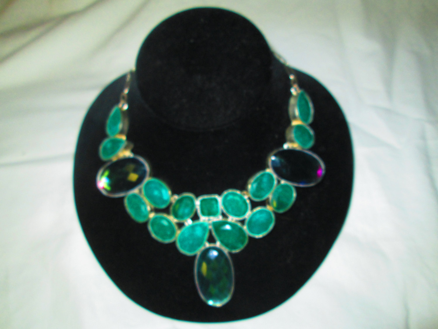 Fantastic Sterling Silver Coated Large Necklace Real Stones Adjustable Sizes Rainbow Topaz Stones