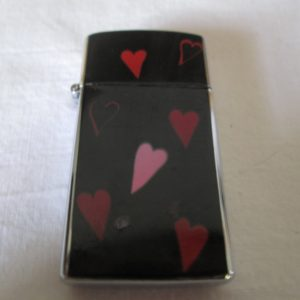 Fantastic Valentines Gift Lady Rogers Unused New Old stock Heart Lighter Japan Mid Century Pink Red Light Pink Hearts