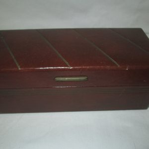 Men's Small Leatherette Jewelry Watch Box Mid Century Gold trim on top and sides Clean inside