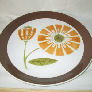 "Mikasa Brunch 2504 Duplex Ben Seibel Chop Plate 12"" PLATTER Retro FLOWER Brown and Orange Vivid Clean"