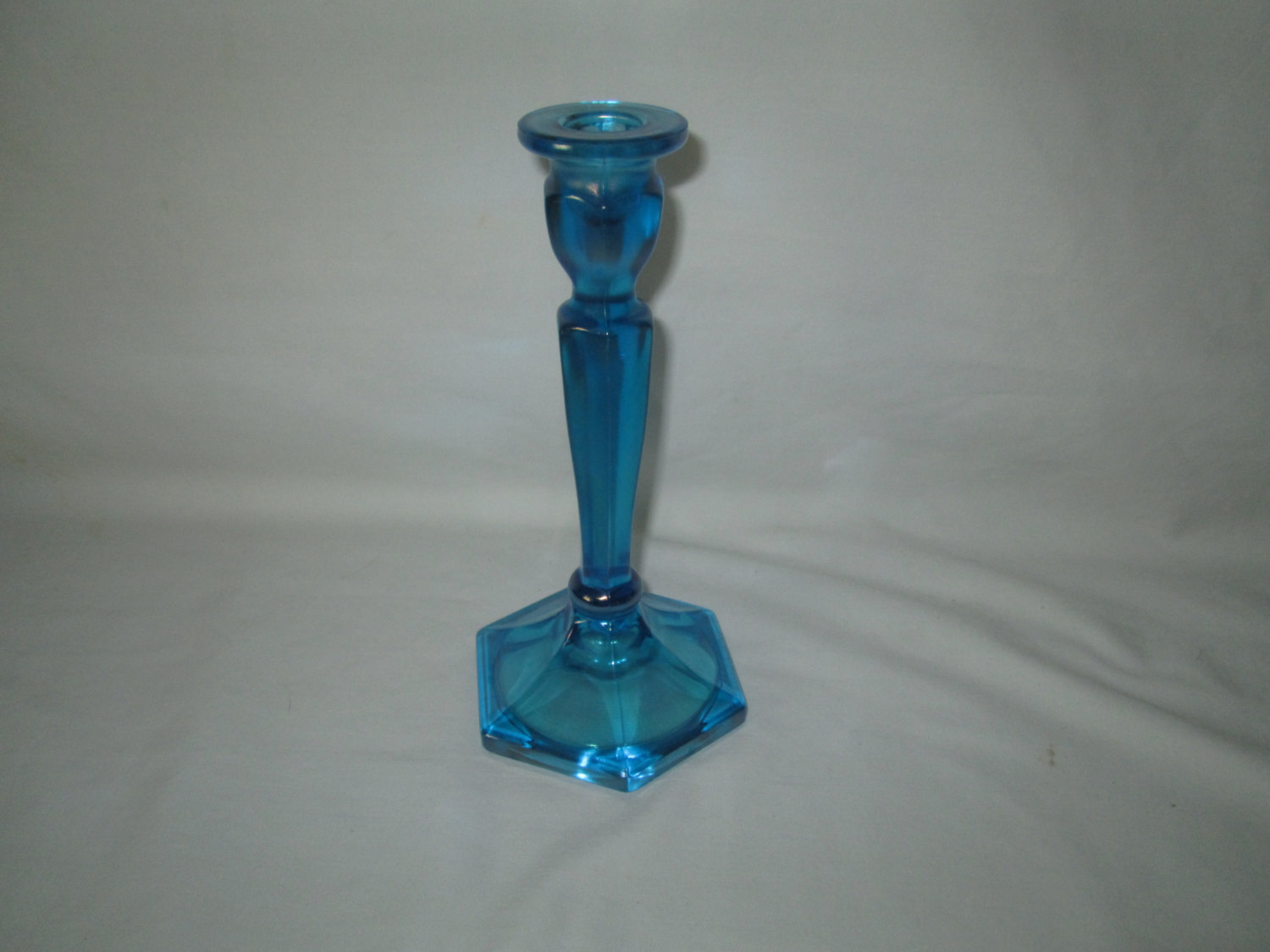 Northwood Carnival / Stretch Candle Holders ~ Colonial #695 ~ Celeste / Sapphire