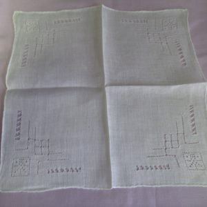 Ornate fine cotton hankie white on white cutwork and embroidery art deco