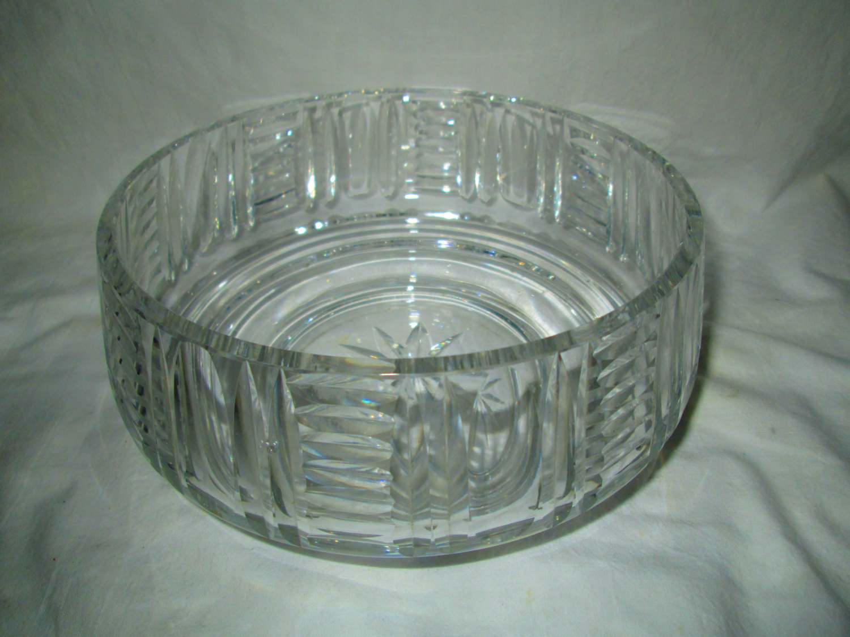 Signed Art Deco Cut Glass Bowl Edenburgh Scotland Beautiful Center Bowl 1940's  Antique