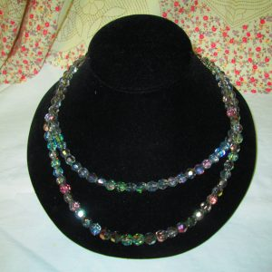 Stunning Aurora Borealis Beaded Colorful Double strand Necklace 1940's
