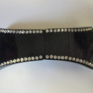 Vintage 1940's Belt Buckle Black Bakelite with Rhinestone silver trim backs collectible tv movie props vintage fashion display