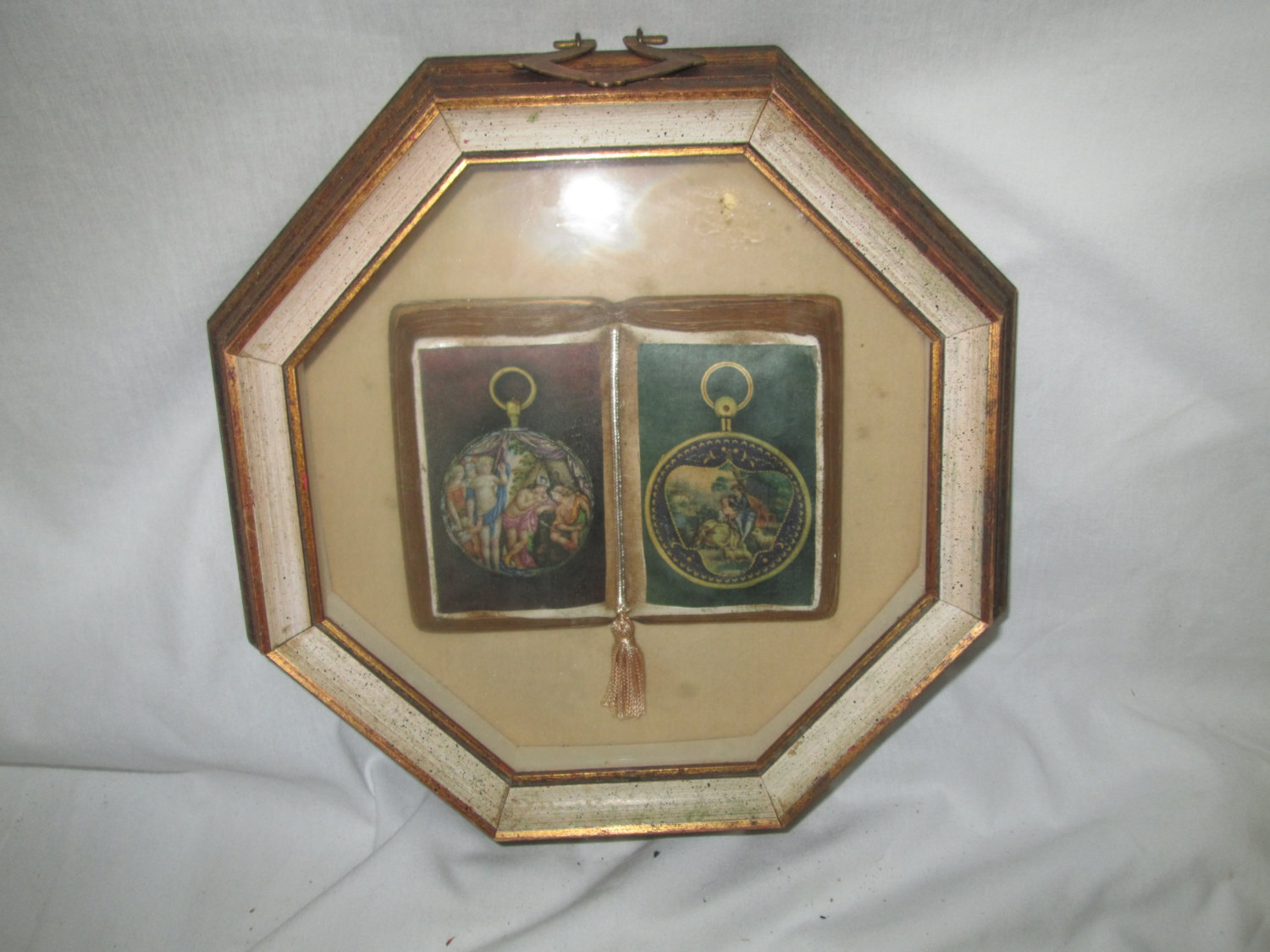 Vintage 1950 S Wooden Shadow Box Frame Contents Are A Victorian Scene Book Hex Shape Gl And Collectible Wall Decor