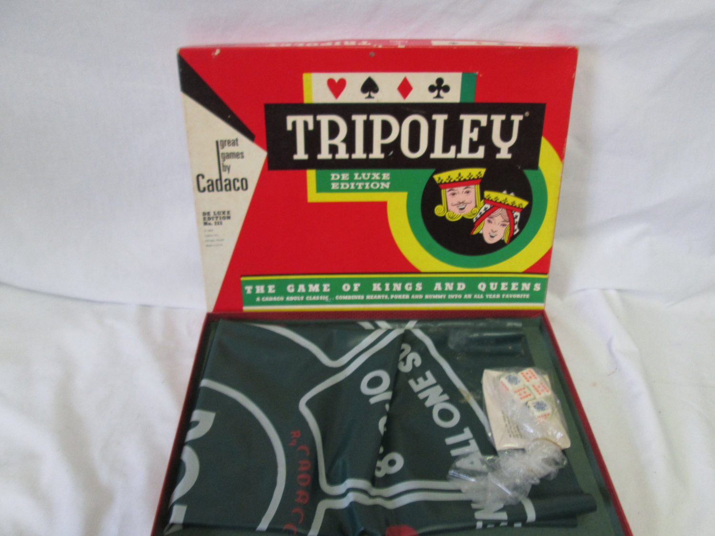 vintage 1965 tripoley de luxe edition by cadaco no 111 very good condition complete good box. Black Bedroom Furniture Sets. Home Design Ideas