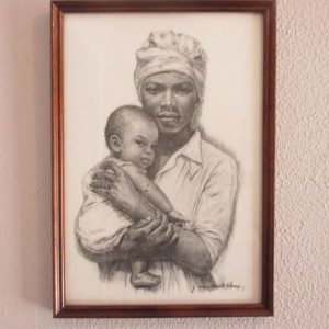 Vintage art lithograph from charcoal J Macdonald Henry Jamaican Madonna Mother with Child Faces Series Black Americana Collectible Artwork