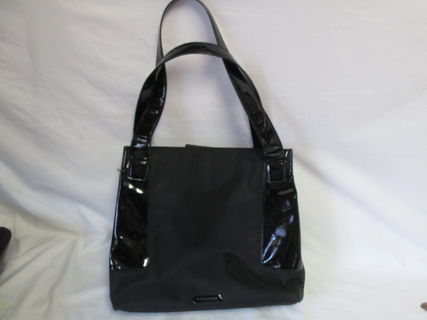 Vintage Black Top Handle Bag Fabric And Patent Leather Nine Co Tote Overnight Cosmetic