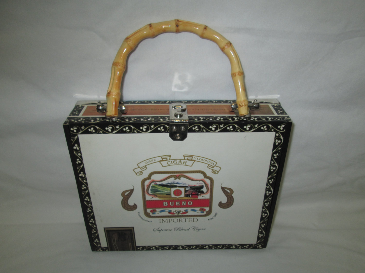 Vintage Cigar Box Turned Purse Handbag Great Condition Bamboo Handle Lined Inside Palm Tree Pattern Fabric
