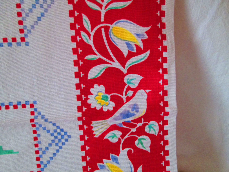 Vintage Cotton Printed Kitchen Towel Vivid Colors Folk Art Pattern Home  Made Vintage Kitchen Decor