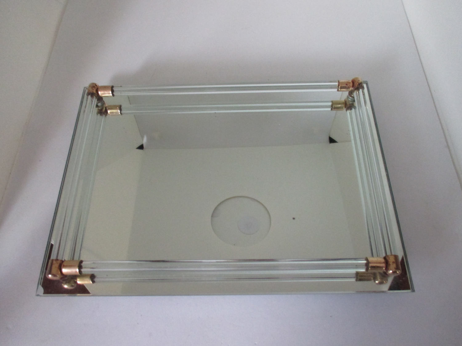 Vintage dresser vanity tray mirrored glass with glass rods for Mirrored bathroom tray