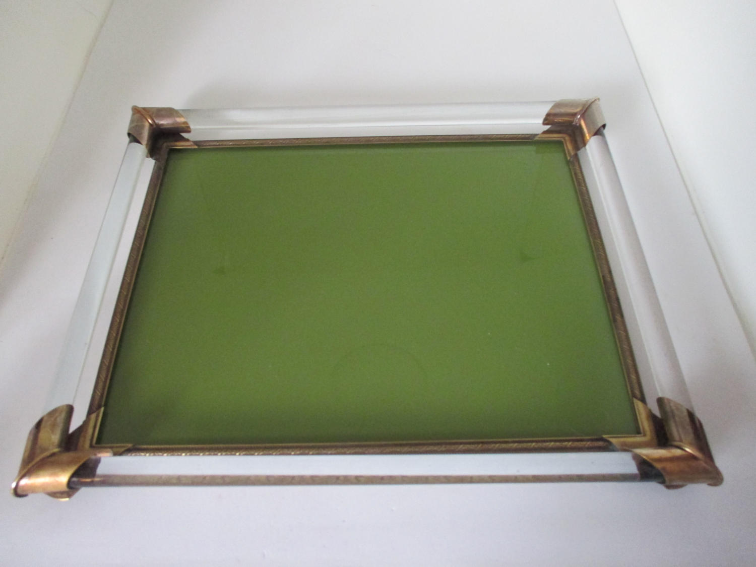 Vintage Dresser Vanity Tray Olive Green glass with glass rods arund edges  brass corners Collectible display - Vintage Dresser Vanity Tray Olive Green Glass With Glass Rods Arund