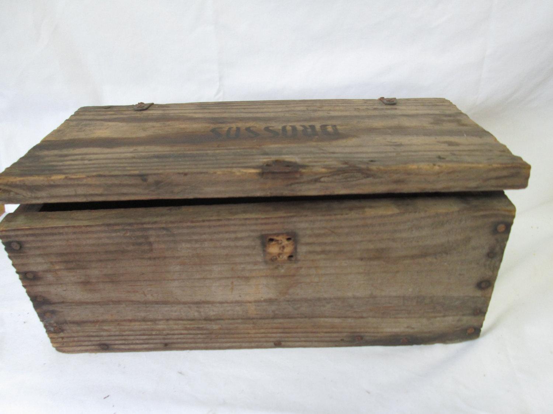 Vintage Drossos Greek Wooden Hinged Lid Box Storage Garage Collectible Tools