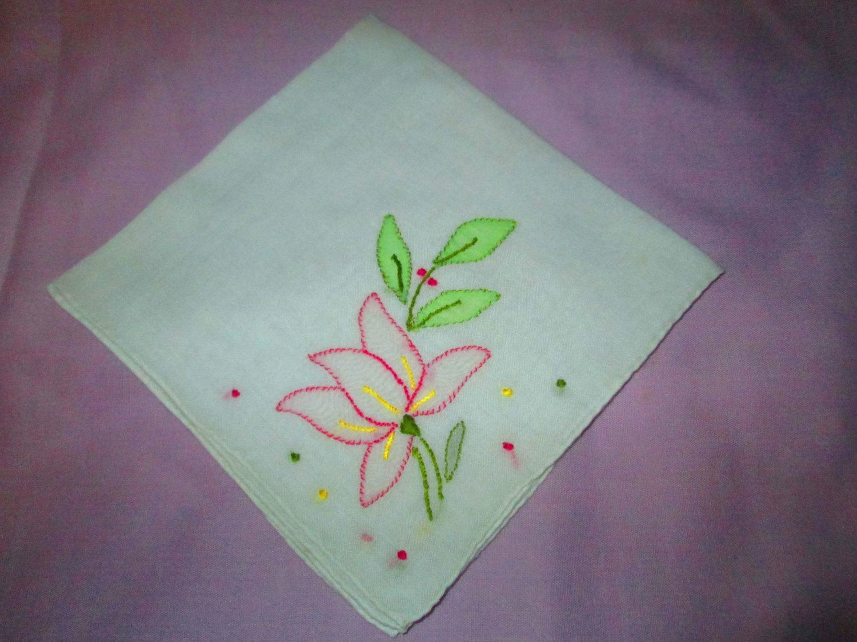 Vintage embroidered and applique floral handkerchief for Applique vintage
