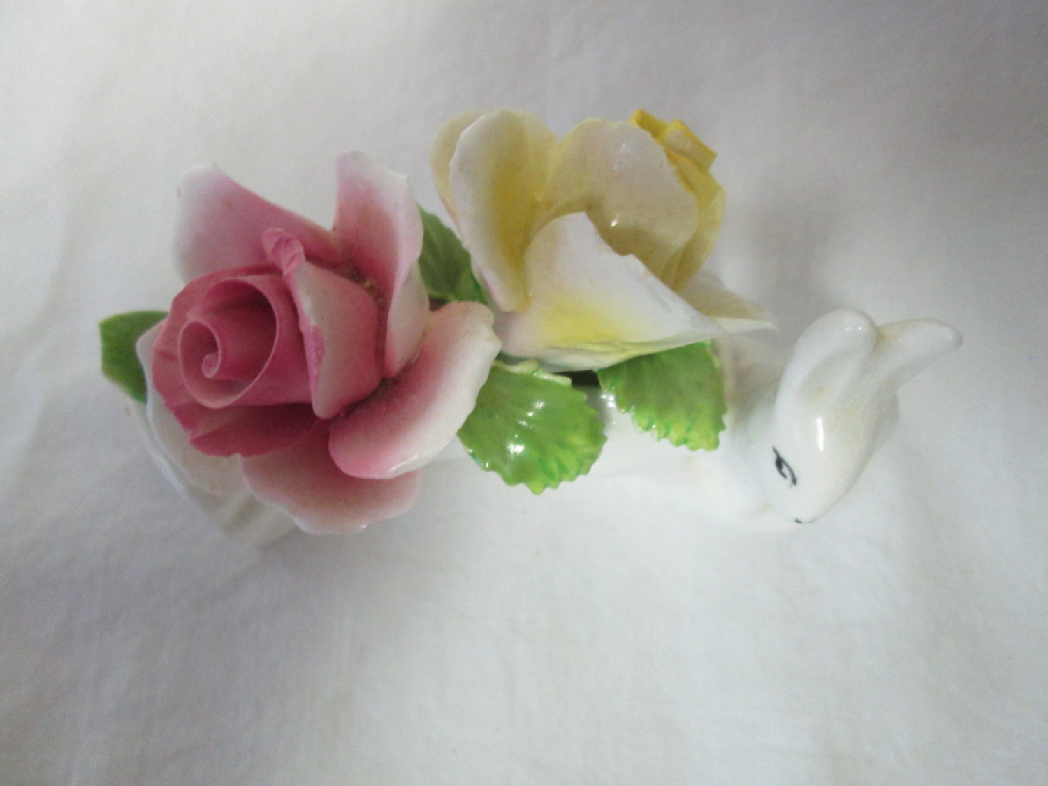 Vintage Fine Bone China Flowers On Log With Rabbit Pink And Yellow