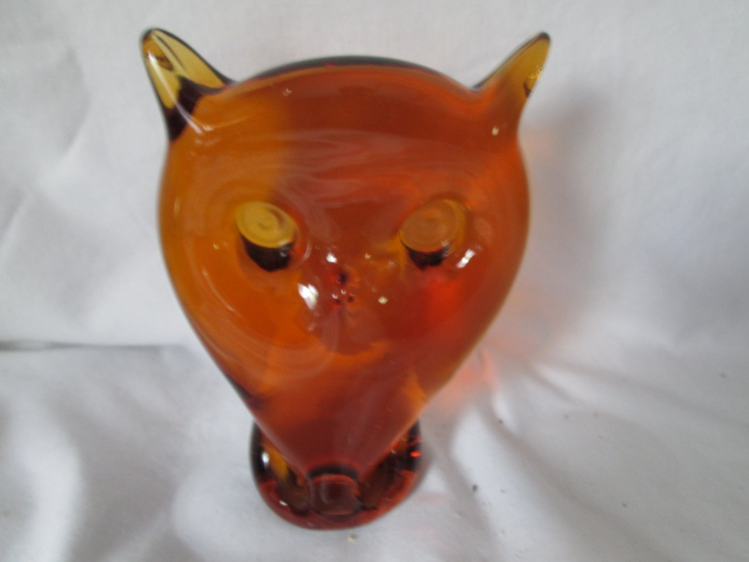 Vintage Glass Owl Figurine Home Decor Collectible Paperweight Blown
