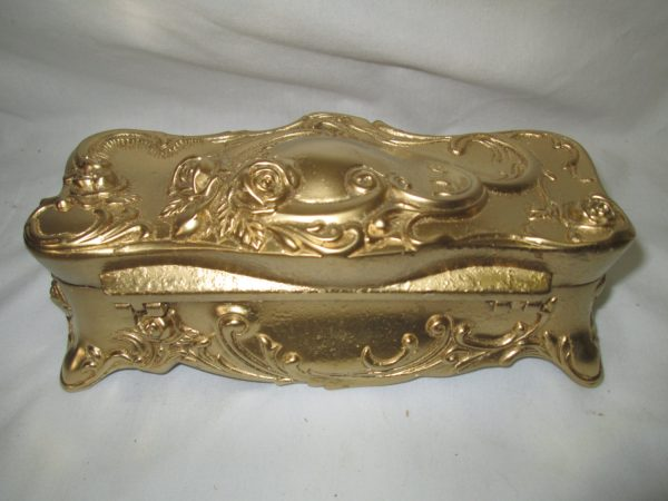 Vintage Gold Metal Ornate Coffin Box Jewelry box lined