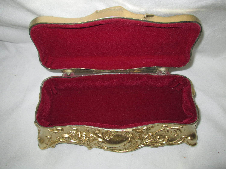 Antique Gold Metal Ornate Coffin Jewelry box lined Carols True