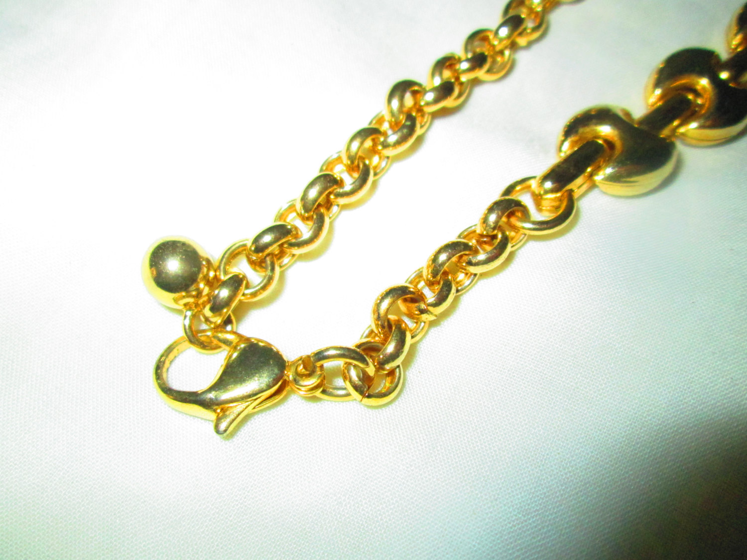 Vintage Gold tone Link Necklace Mid Century Nice Design Adjustable