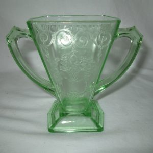 Vintage Green Uranium Glass double handle vase square with pattern glows bright green under black light