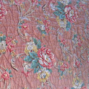 Vintage Hand made hand sewn 1920's pink and gray quilt floral pattern with gray backing and edge trim