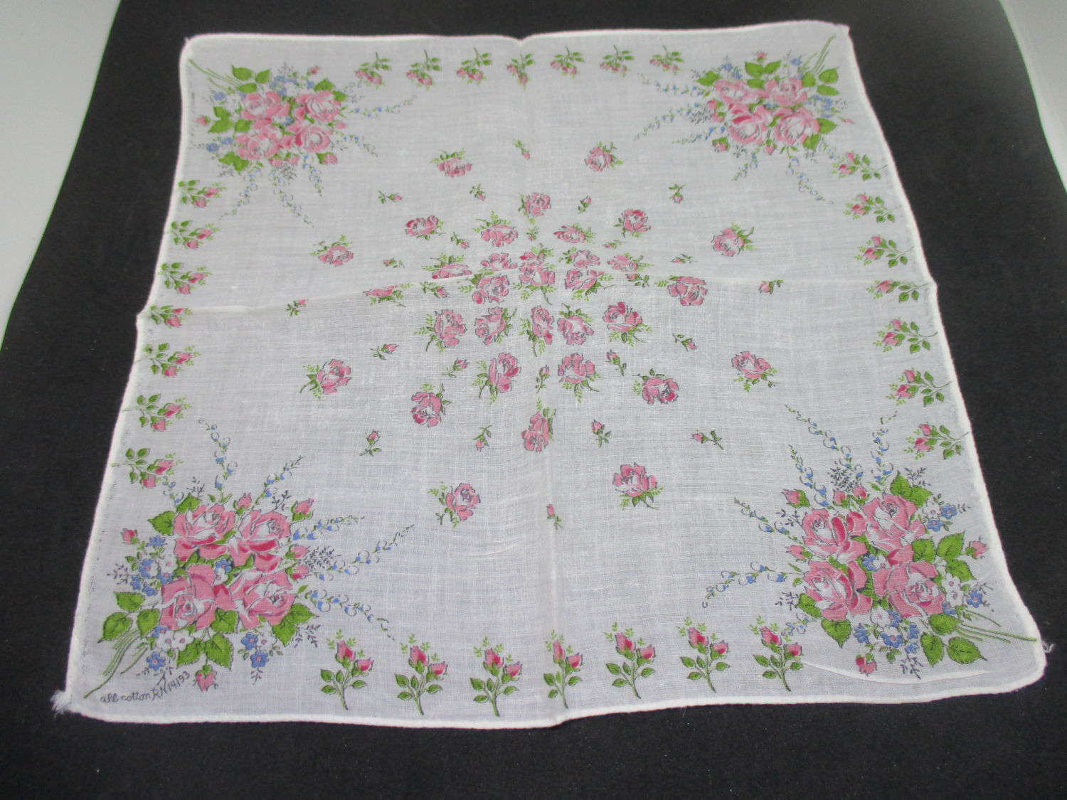 Vintage Hanky Handkerchief Collectible Display Cottage Printed