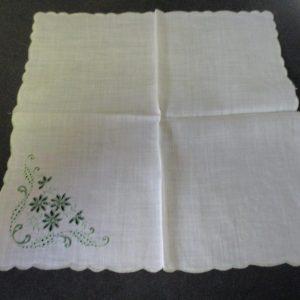 "Vintage Hanky Handkerchief Green Emboridered Flowers with green scalloped rim 10"" x 10"" 1940's"