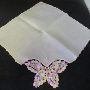 """Vintage Hanky Handkerchief lavender and yellow crochet butterfly with crochet trim 11"""" x 11"""""""