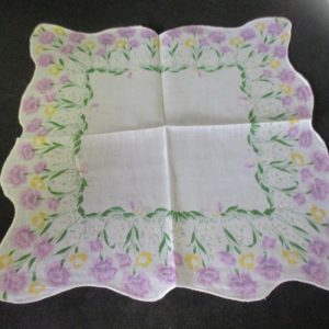 """Vintage Hanky Handkerchief lavender carnations printed cotton scalloped hanky collectible display 11"""" x 11"""""""