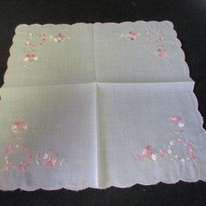 "Vintage Hanky Handkerchief Pink Emboridered Flowers with pink scalloped rim 9"" x 9"""
