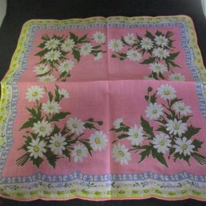 """Vintage Hanky Handkerchief Printed Bright Pink cotton with lavender and yellow trim daisy pattern 1950's 14"""" x 14"""""""