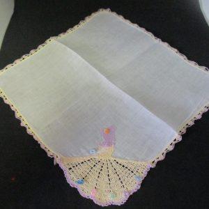 "Vintage Hanky Handkerchief white cotton southern bell crochet girl yellow dress lavender trim crochet edges 12"" x 12"""