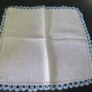"Vintage Hanky Handkerchief White with Light blue crochet trim Wedding Cottage collectible cotton hanky 12"" x 12"""