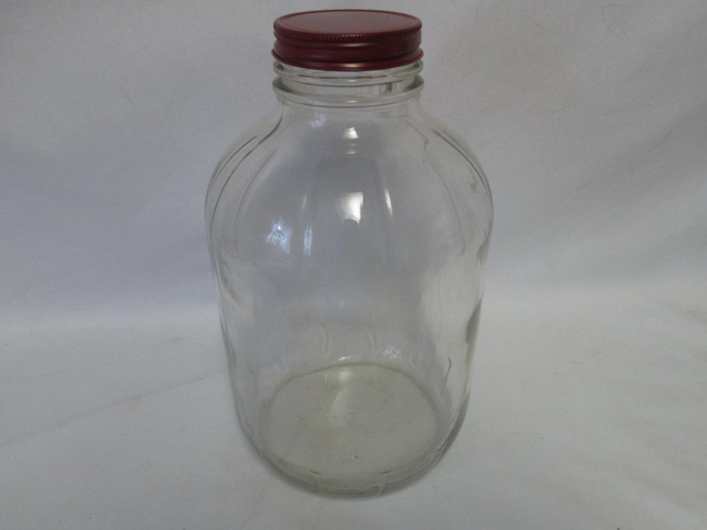 Vintage Hazel Atlas Glass Kitchen Storage Jar~marbles buttons dog treats  garage laundry glass jar
