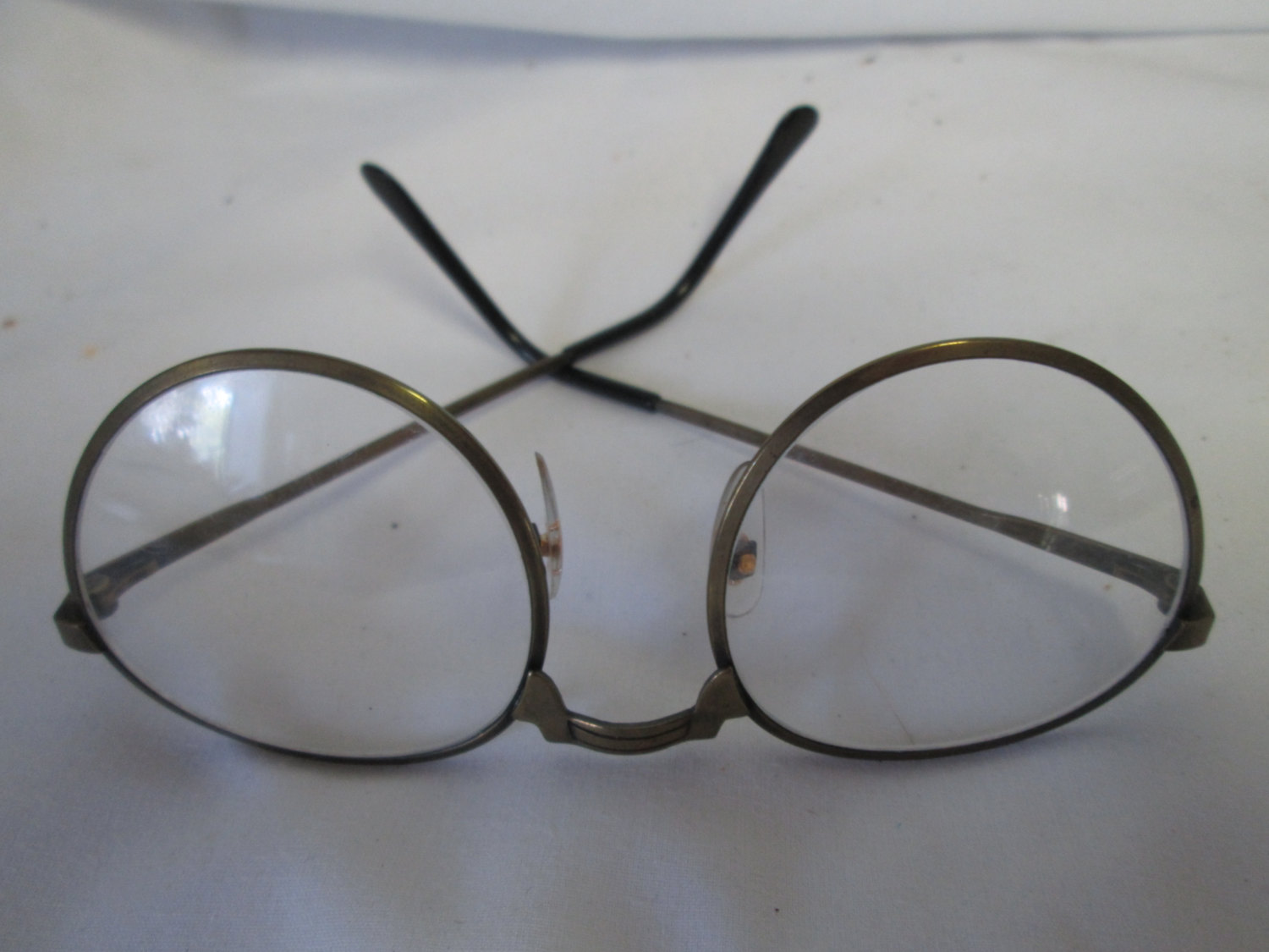 Vintage Large brass rimmed eyeglasses with glass intact single ...