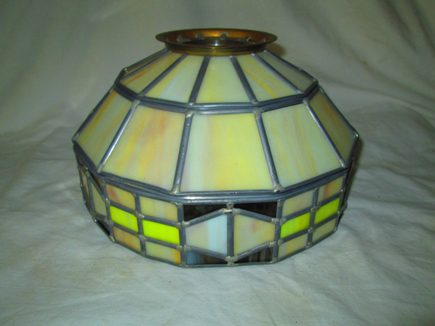 Vintage Leaded Gl Light Fixture Shade Not Faux Plastic